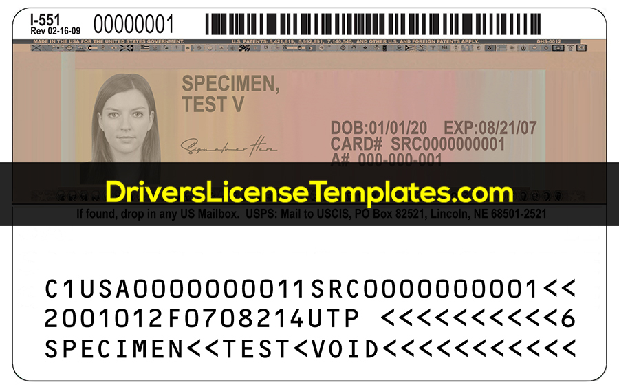 USA Permanent Resident Template Back