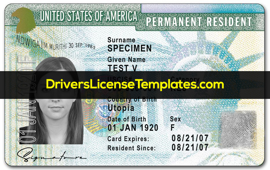 USA Permanent Resident Template Front