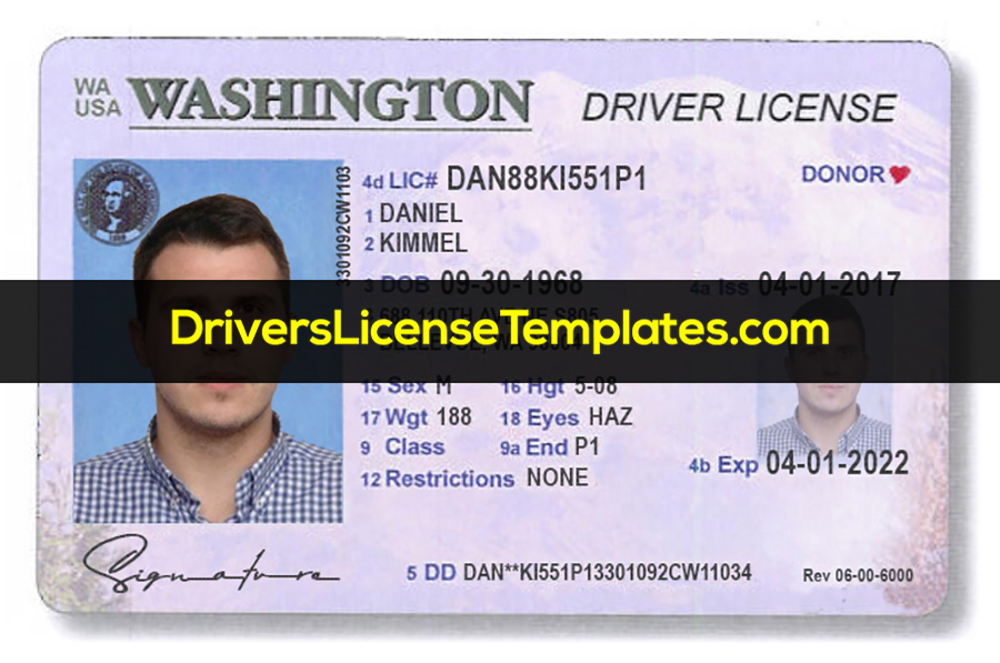 Washington Driver License Template PSD