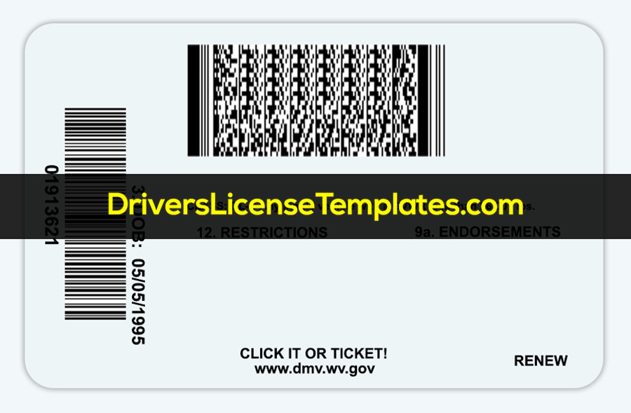 West Virginia Driver License Template Back