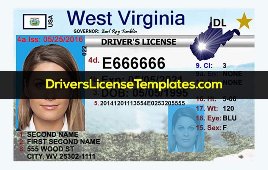 West Virginia Driver License Template Front