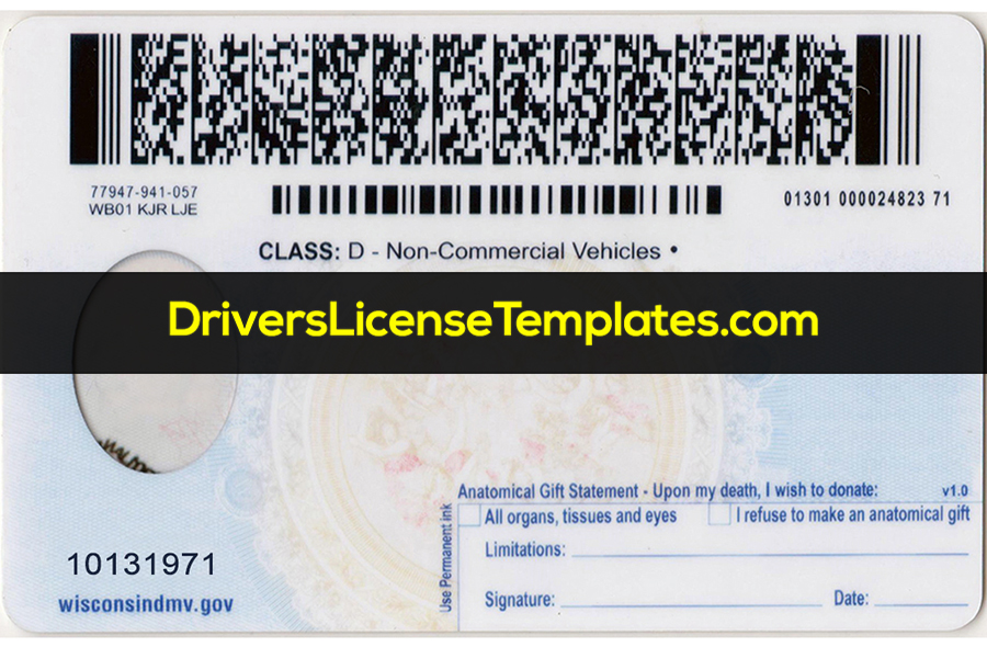 Wisconsin Drivers License Template PSD Back