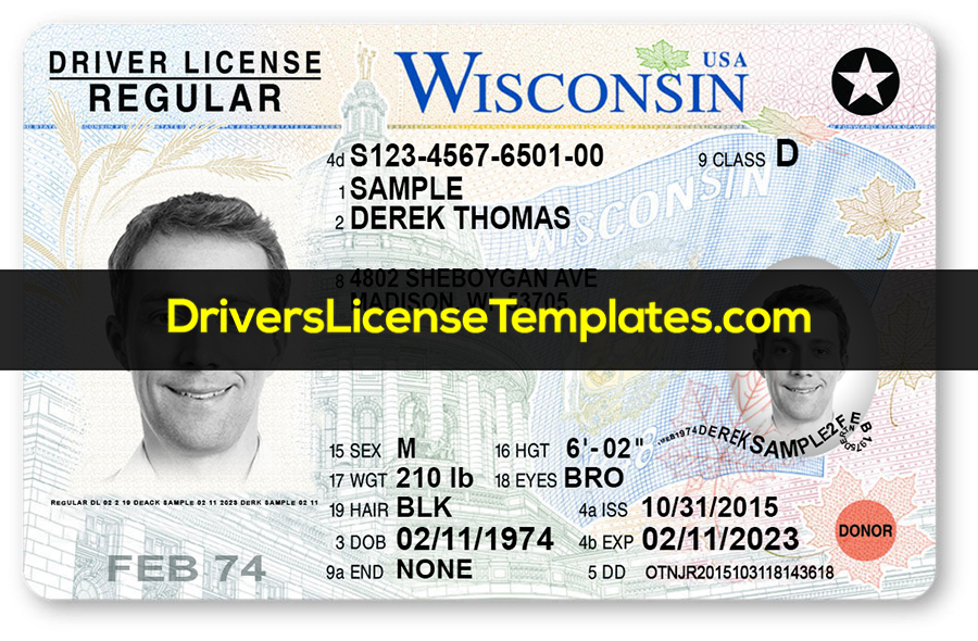 Wisconsin Drivers License Template PSD