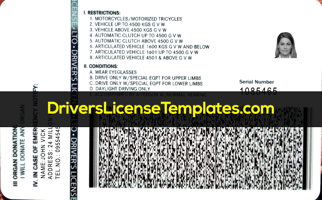 Philippines Drivers License Back barcode Editable Fake PH ID Card Scannable