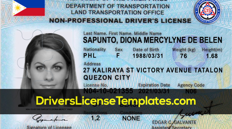 Philippines Drivers License Front Editable Fake PH ID Card Scannable